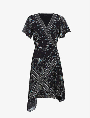 AllSaints Kaiya Assam-print crepe wrap dress