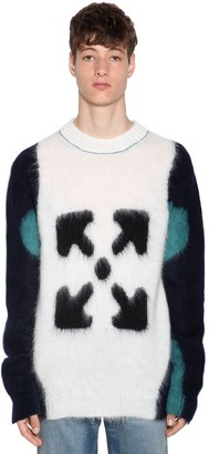 Off-White Tricolor Wool Intarsia Knit Sweater