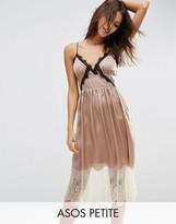 Asos Satin Cami Midi Dress with Contrast Lace
