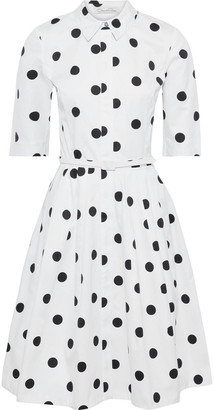 Oscar de la Renta Flared Belted Polka-dot Cotton-twill Dress