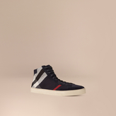 Burberry Exploded Check Suede And Jute High-top Trainers , Size: 40.5, Blue