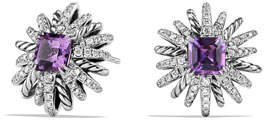 David Yurman 19mm Diamond & Amethyst Starburst Earrings