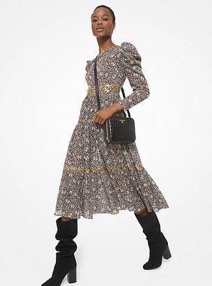 MICHAEL Michael Kors MK Embellished Paisley Cotton Lawn Puff-Sleeve Dress - Caramel - Michael Kors