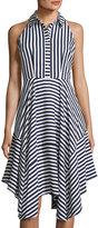 Donna Ricco Sleeveless Striped Dress, Blue/White