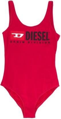 Diesel Logo Print Open Back Swimsuit