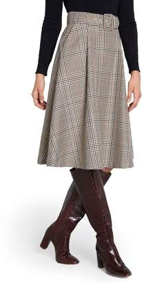 ModCloth Belted Brown Plaid Skirt