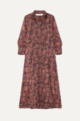 IRO Maddie Printed Chiffon Robe And Mini Dress - Brown