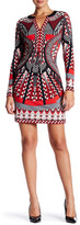 Hale Bob Long Sleeve Printed Sheath Dress