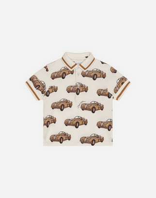 Dolce & Gabbana Pique Polo Shirt With Small Car Print