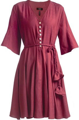 Gisy Estrella Plum Belted Mini Dress