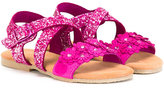 MonnaLisa glitter crossover strap sandals - kids - Leather/PVC/Suede/rubber - 24