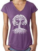 Yoga Clothing For You Ladies WHITE CELTIC TREE V-neck Tee, XL