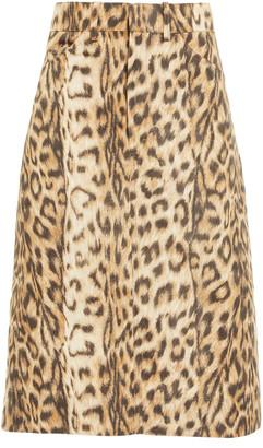 Victoria Beckham Leopard-Print Taffeta A-Line Skirt