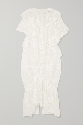 Simone Rocha Ruffled Gathered Sequin-embellished Tulle Midi Dress - Ivory