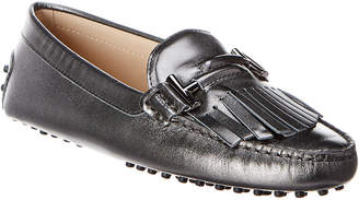Tod's Gommino Fringed Double T Metallic Leather Loafer