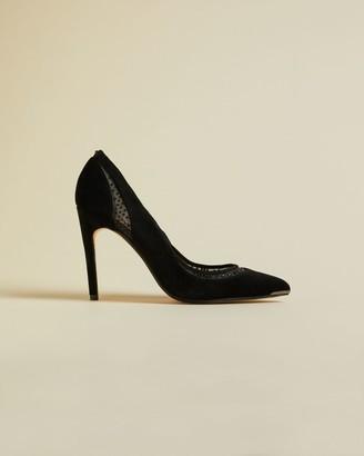 Ted Baker Leather Diamante Mesh Detail Stiletto Courts