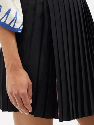 Charles Jeffrey Loverboy Buckled Pleated Wool-twill Kilt Skirt - Black