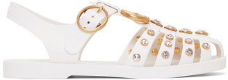 Gucci Off-White Studded Jelly GG Cage Sandals