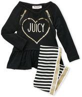 Juicy Couture Toddler Girls) Two-Piece Sequin Ruffle Top & Striped Metallic Leggings Set