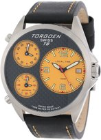 Torgoen Swiss Men's T08102 Triple Time Zone Carbon Fiber Leather Strap Watch