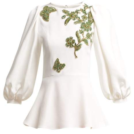 Andrew Gn Embellished Balloon Sleeve Crepe Blouse - Womens - White Multi