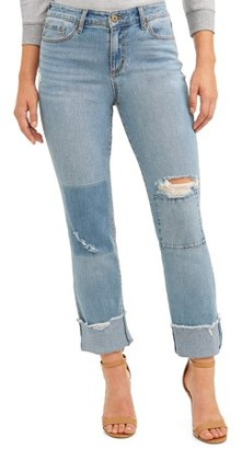 Sofia Jeans By Sofia Vergara Sofia Jeans Veronica Destructed Cuffed Straight Leg High Waist Jean Women's