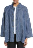 eskandar Mandarin-Collar Button-Front Denim Jacket