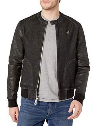 True Religion Men's Long Sleeve Moto Denim Jacket