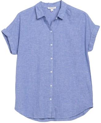 BeachLunchLounge Spencer Linen Blend Short Sleeve Blouse