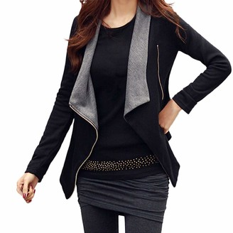 Kalorywee Sale Clearance Outwear KaloryWee Grey Cardigan Womens Waterfall Drape Front Open Long Sleeve Blazer Coat