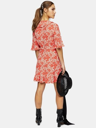 Topshop Oriental Mini Wrap Dress - Red