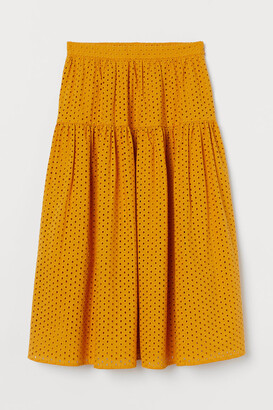 H&M Eyelet Embroidery Skirt - Yellow