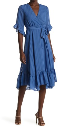 Gabby Skye Striped Ruffled Tie Waist Midi Dress