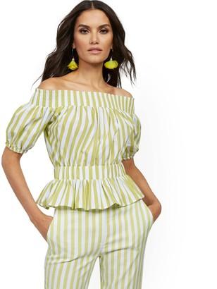 New York & Co. Stripe Poplin Off-The-Shoulder Top