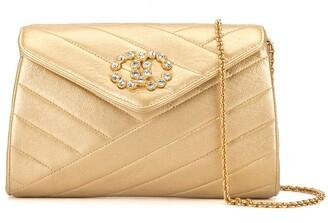 Chanel Pre Owned 1992 Bias Stitch Rhinestone Bag