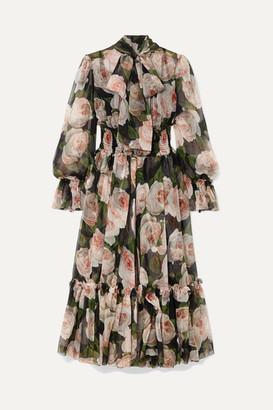 Dolce & Gabbana Pussy-bow Floral-print Silk-chiffon Dress - Black