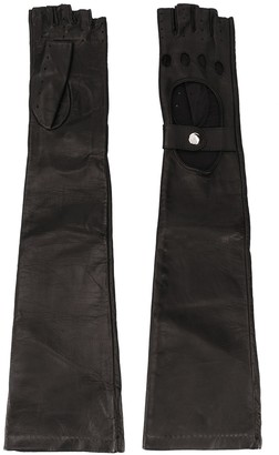 Manokhi Cut-Out Detail Fingerless Gloves