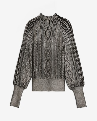 Express Metallic Foil Cable Knit Mock Neck Sweater