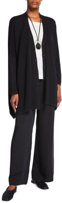 eskandar Long V-Neck Ribbed Silk Cardigan