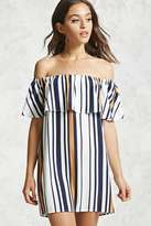 Forever 21 FOREVER 21+ Striped Off-the-Shoulder Dress