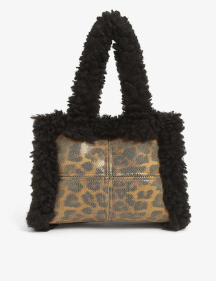 Stand Liz faux-shearling and leopard-print shoulder bag