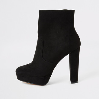 River Island Black faux suede platform wide fit boots