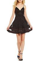 Jodi Kristopher Spaghetti-Strap V-Neck Illusion-Inset Lace Skater Dress