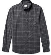 Club Monaco Button-down Collar Checked Cotton-flannel Shirt - Charcoal