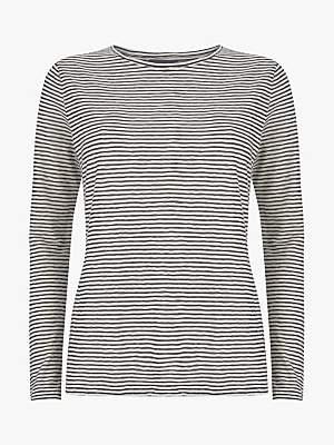 Mint Velvet Striped Long Sleeved Tee, White/Grey