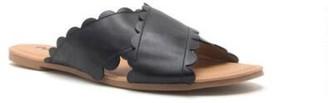 Qupid Archer Scalloped X Band Slide Sandal - Black