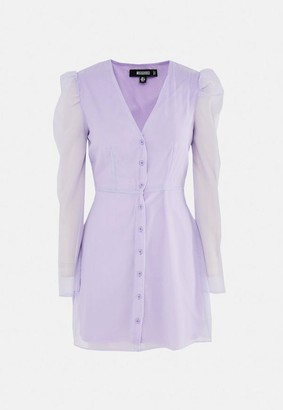 Missguided Organza Puff Sleeve Button Front Mini Dress