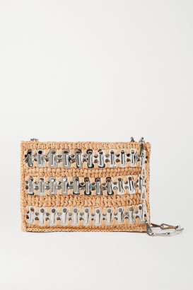 Paco Rabanne 1969 Nano Raffia And Chainmail Shoulder Bag - Beige