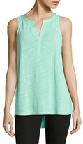 Lord & Taylor Petite Petite Pleat-Back Shell Top