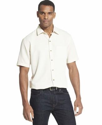 Van Heusen Men's Air Short Sleeve Button Down Poly Rayon Grid Shirt